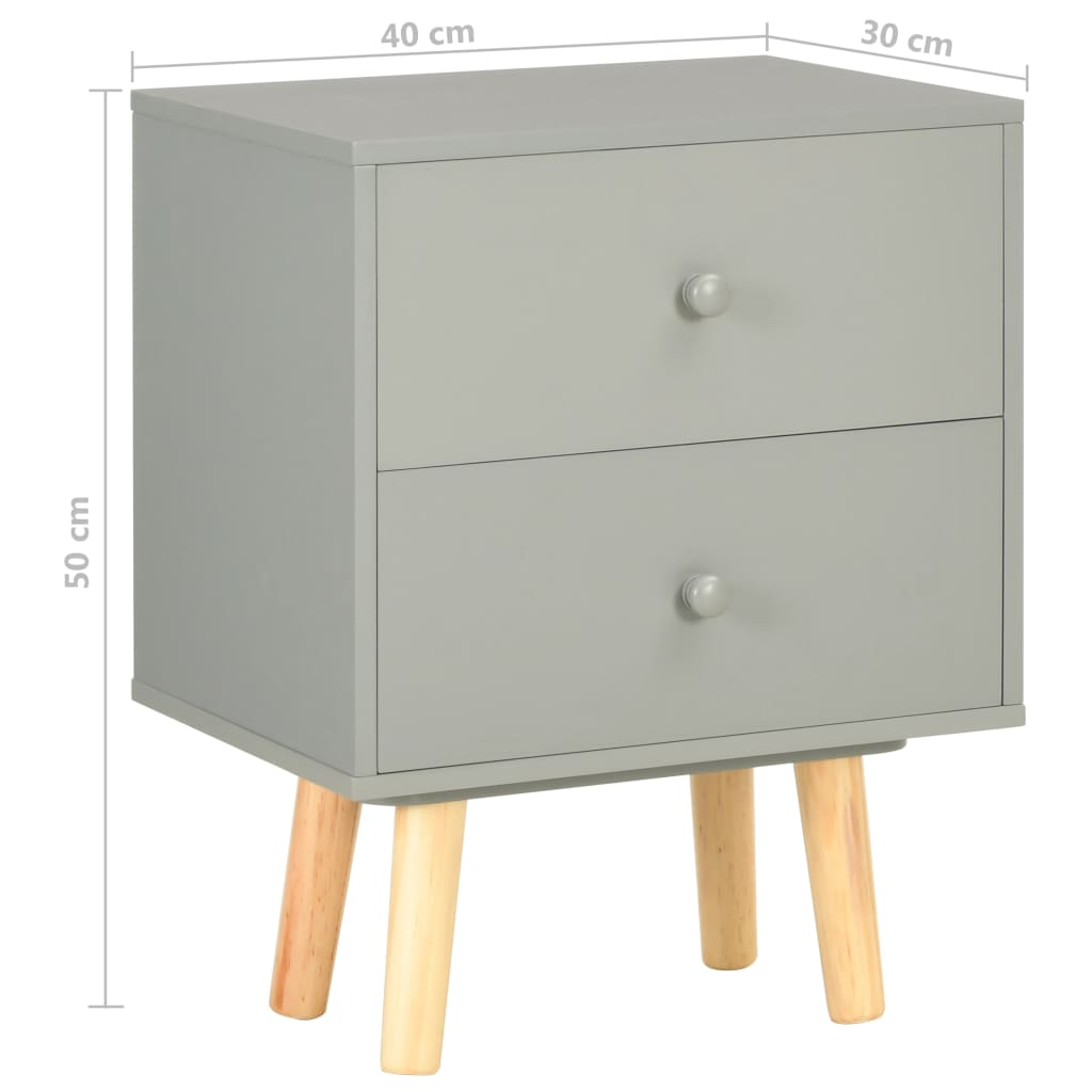 vidaXL Nachtkastjes 2 st 40x30x50 cm massief grenenhout grijs