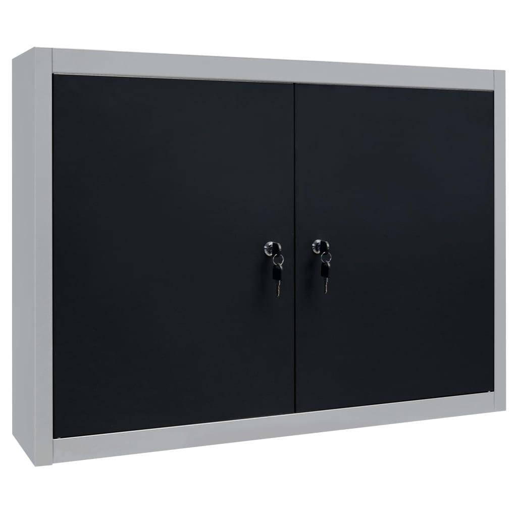 99145365 Wand-Werkzeugschrank Industrie-Stil Metall Grau und Schwarz