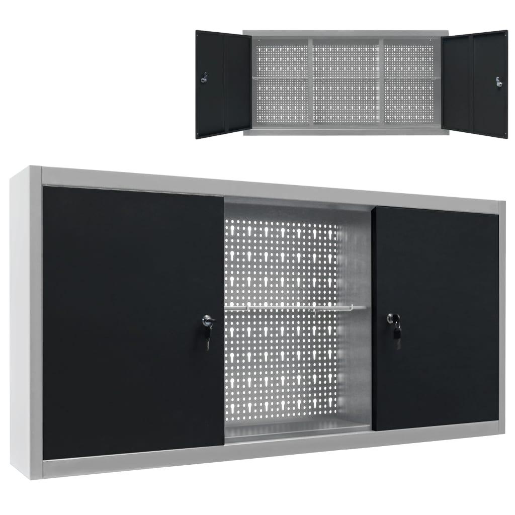 vidaXL Nástěnná skříň na nářadí industriální styl kov šedo-černá