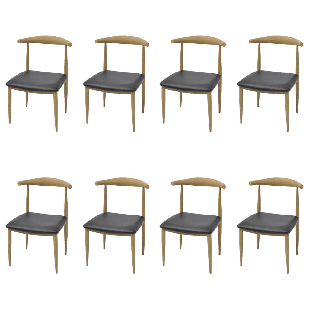 vidaXL spisebordsstole 8 stk. kunstlæder sort
