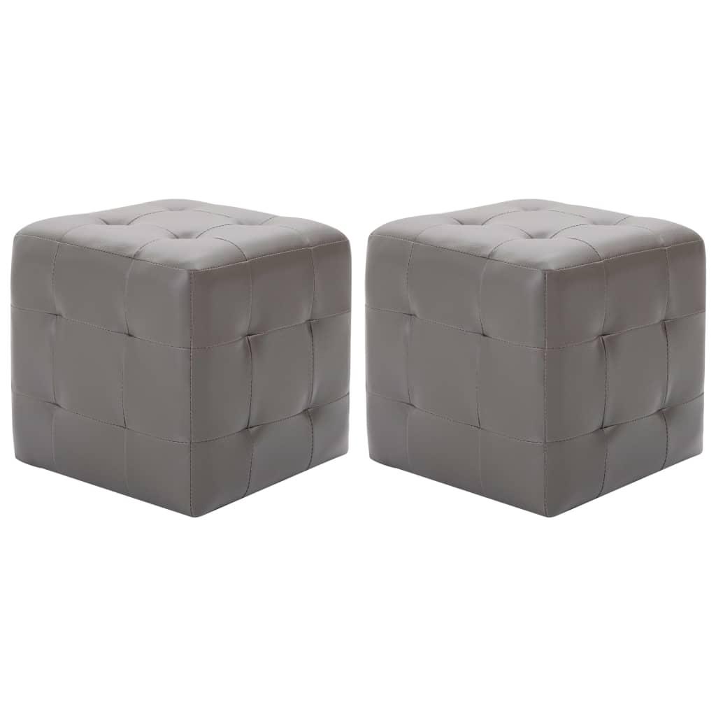 Taburety 2 ks šedé 30 x 30 x 30 cm umělá kůže