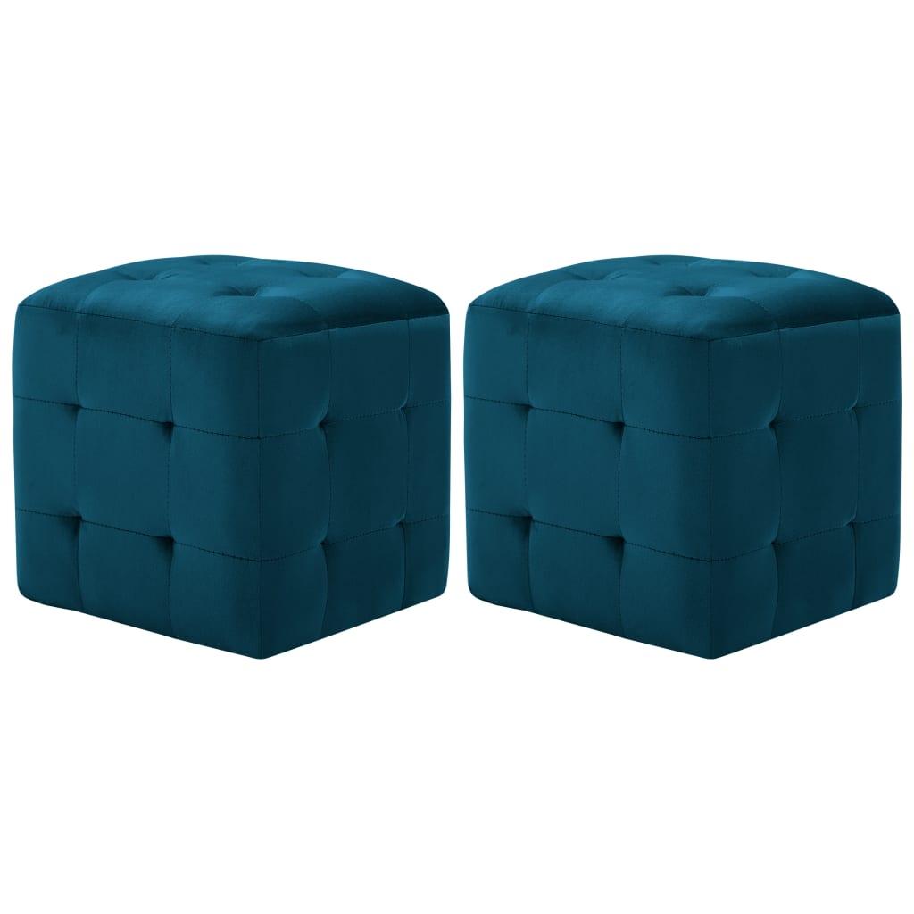 vidaXL Taburet, 2 buc., albastru, 30 x 30 x 30 cm, țesătură catifea vidaxl.ro