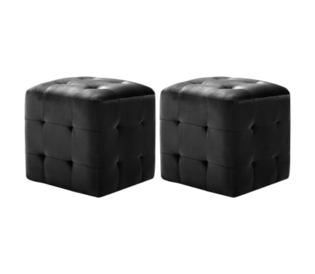 vidaXL Poef 2 st 30x30x30 cm fluweel zwart