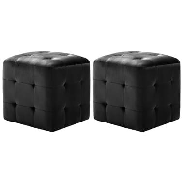 vidaXL Pufai, 2 vnt., juodos spalvos, 30x30x30cm, aksomas (249018)[1/6]