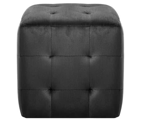 vidaXL Pufai, 2 vnt., juodos spalvos, 30x30x30cm, aksomas (249018)[3/6]