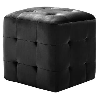 vidaXL Pufai, 2 vnt., juodos spalvos, 30x30x30cm, aksomas (249018)[2/6]