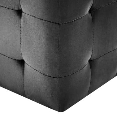 vidaXL Pufai, 2 vnt., juodos spalvos, 30x30x30cm, aksomas (249018)[5/6]