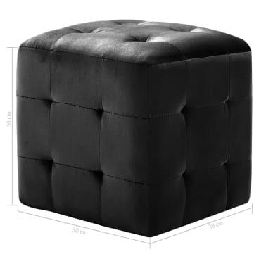 vidaXL Pufai, 2 vnt., juodos spalvos, 30x30x30cm, aksomas (249018)[6/6]