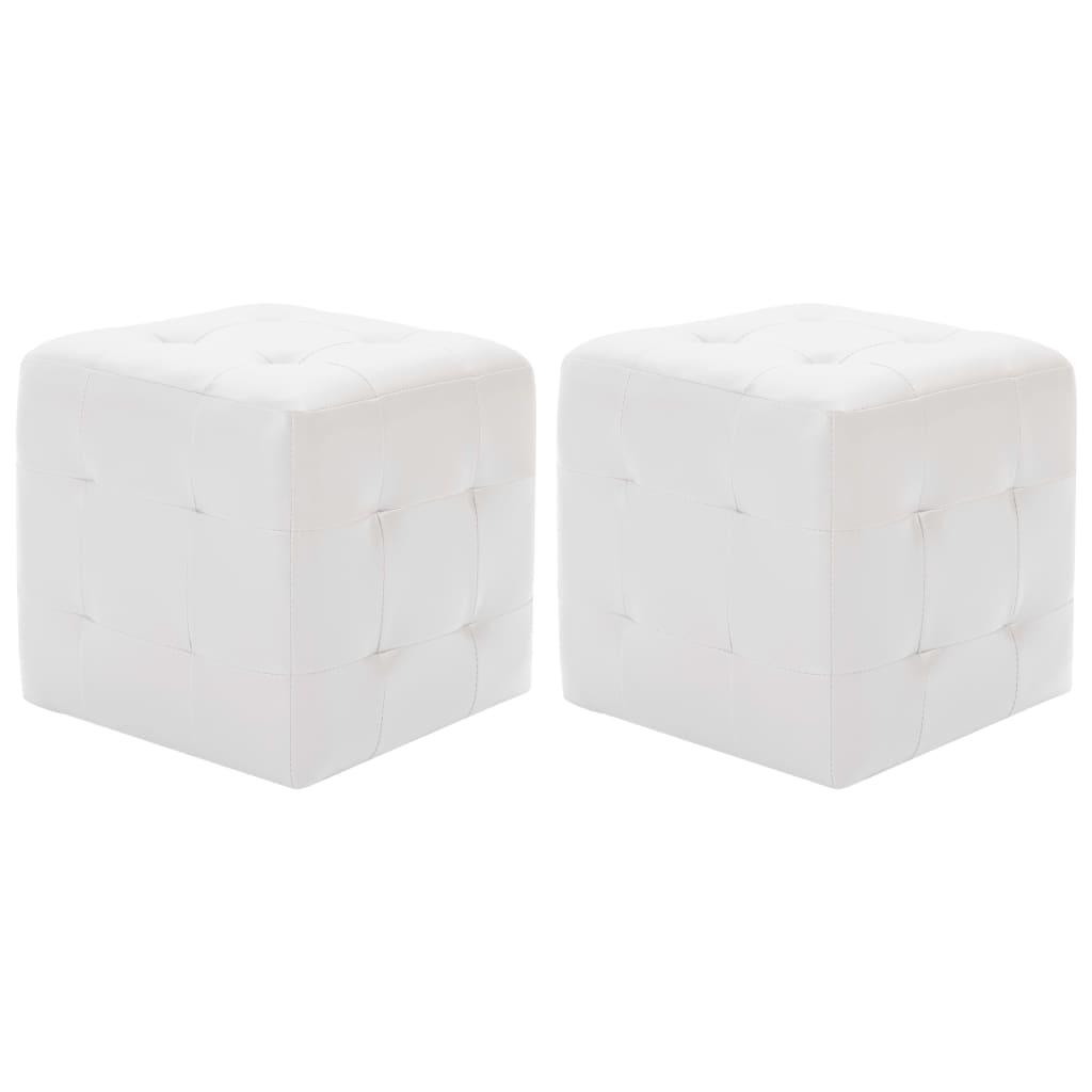 vidaXL Taburety 2 ks bílé 30 x 30 x 30 umělá kůže