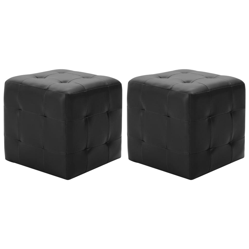 Taburety 2 ks černé 30 x 30 x 30 umělá kůže