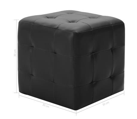 vidaXL Pufai, 2 vnt., juodos spalvos, 30x30x30 cm, dirbtinė oda[5/5]