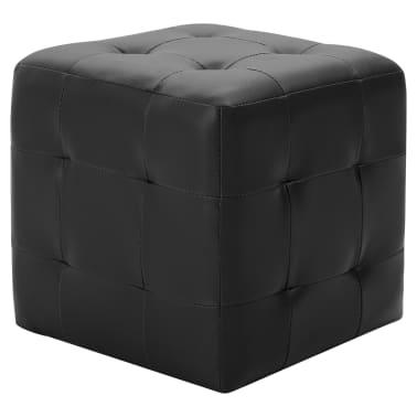 vidaXL Pufai, 2 vnt., juodos spalvos, 30x30x30 cm, dirbtinė oda[2/5]