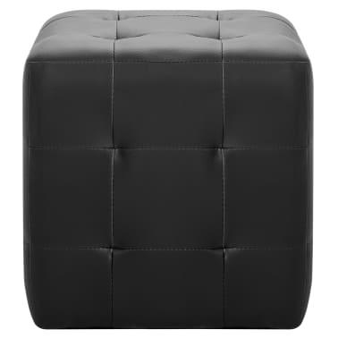 vidaXL Pufai, 2 vnt., juodos spalvos, 30x30x30 cm, dirbtinė oda[3/5]