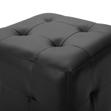 vidaXL Pufai, 2 vnt., juodos spalvos, 30x30x30 cm, dirbtinė oda[4/5]