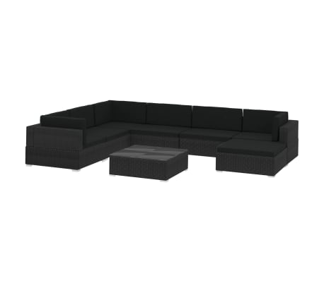 vidaXL 8 Piece Garden Lounge Set with Cushions Poly Rattan Black
