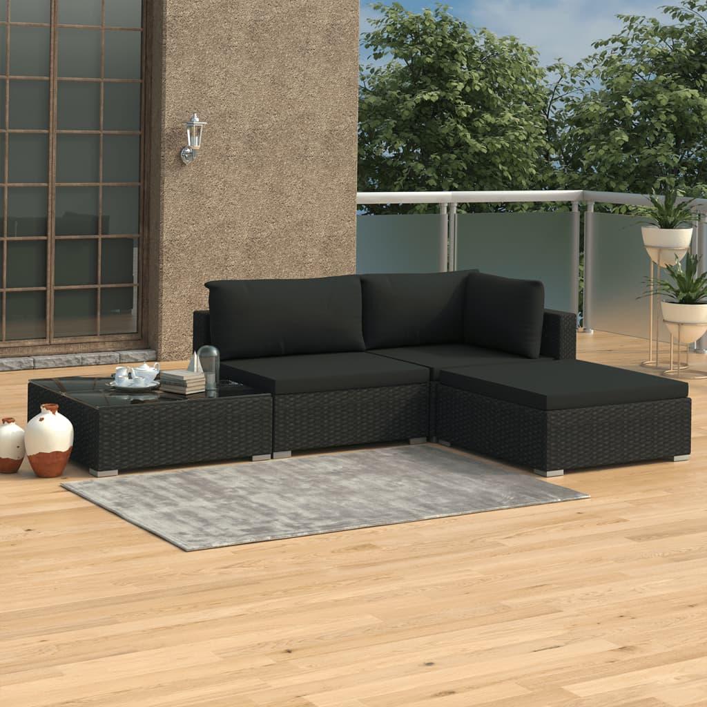 vidaXL Set mobilier de grădină cu perne, 4 piese, negru, poliratan imagine vidaxl.ro
