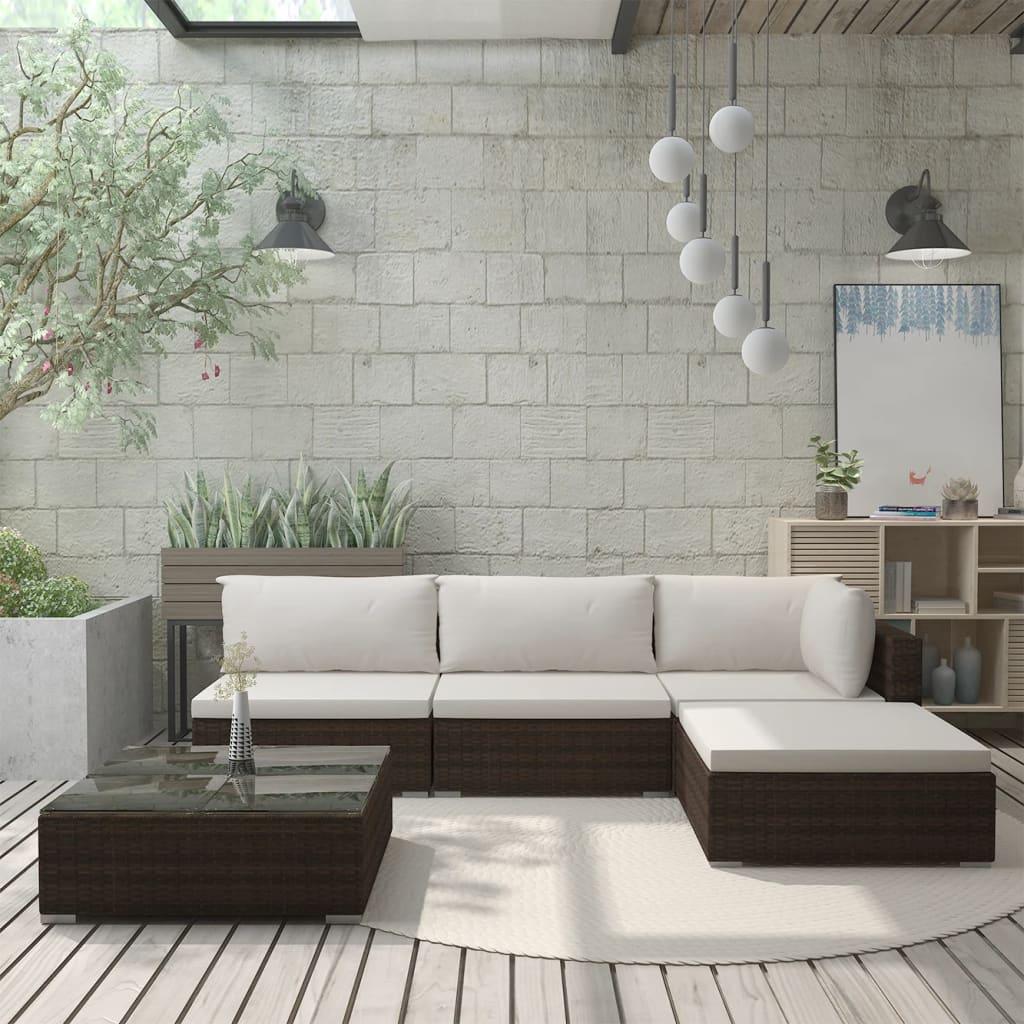 vidaXL Set mobilier de grădină cu perne, 5 piese, maro, poliratan poza 2021 vidaXL