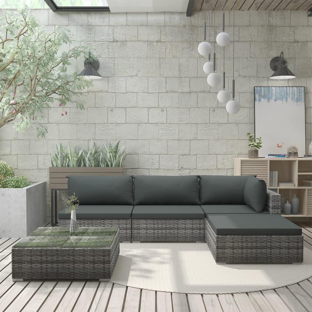vidaXL Set mobilier de grădină cu perne, 5 piese, gri, poliratan vidaxl.ro