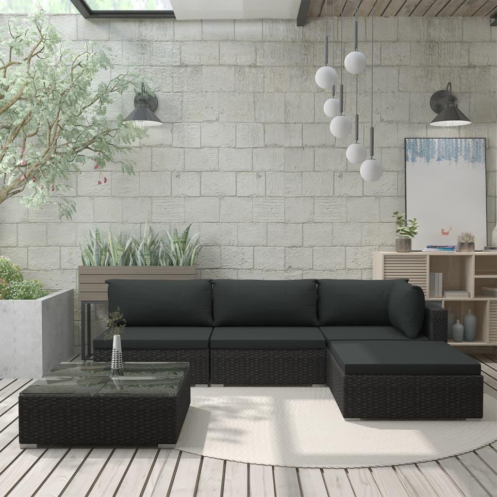 vidaXL Set mobilier de grădină cu perne, 5 piese, negru, poliratan poza 2021 vidaXL