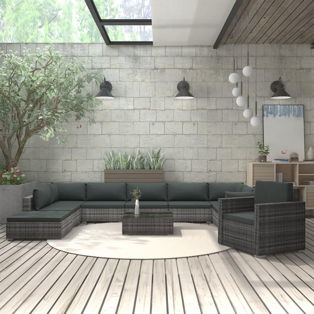 11-tlg. Garten-Lounge-Set mit Auflagen Poly Rattan Grau