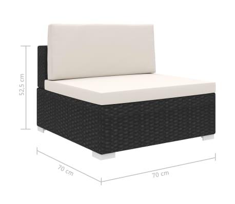 vidaXL Vidurinė sekcinės sofos dalis, 1vnt., juoda, poliratanas[5/14]