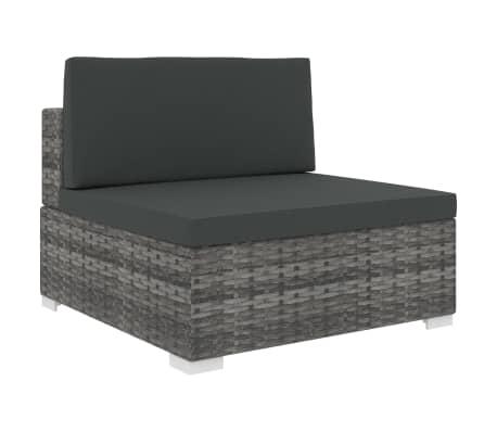 vidaXL Vidurinė sekcinė sofa su pagalvėle, 1vnt., pilka, poliratanas