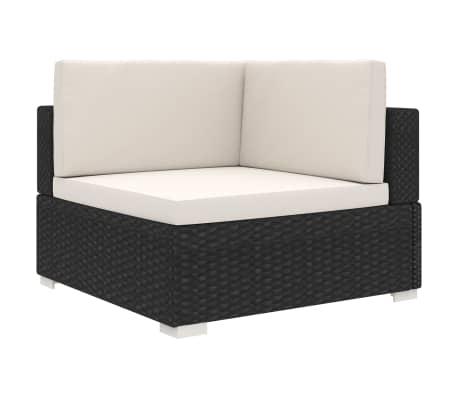 vidaXL Chaise d'angle 1 pc et coussins Résine tressée Noir