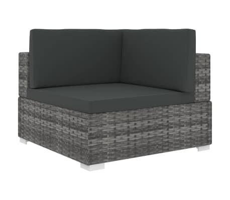vidaXL Rohová sedačka 1 ks s podložkami, polyratan, sivá