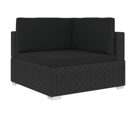 vidaXL Модулен ъглов фотьойл с възглавници, 1 бр, полиратан, черен