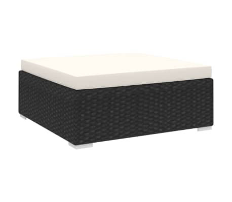 vidaXL Sectional Footrest 1 pc with Cushion Poly Rattan Black