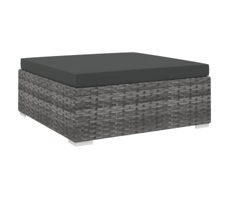 vidaXL Sectional Footrest 1 pc with Cushion Poly Rattan Grey