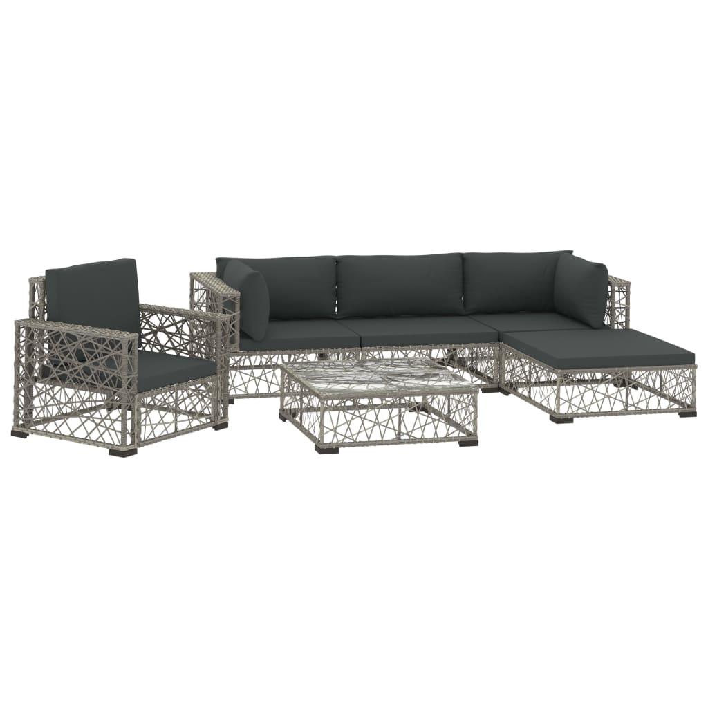 99946811 6-tlg. Garten-Lounge-Set mit Auflagen Poly Rattan Grau