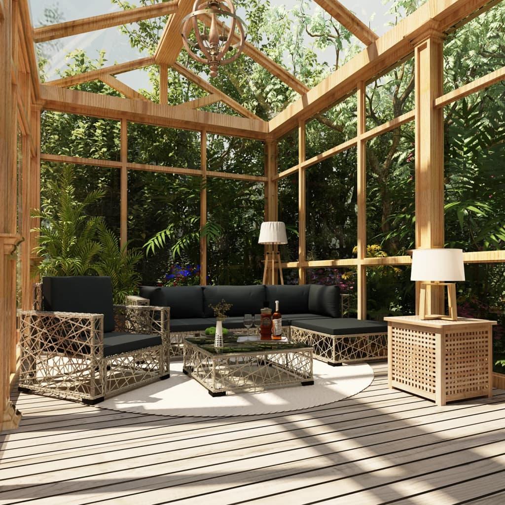 vidaXL Set mobilier de grădină cu perne, 6 piese, gri, poliratan poza 2021 vidaXL