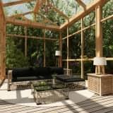vidaXL 5 Piece Garden Lounge Set with Cushions Poly Rattan Grey