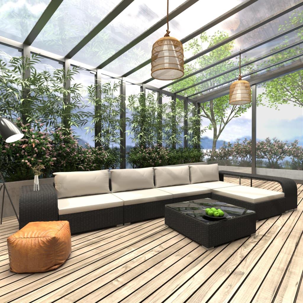 vidaXL Set mobilier de grădină cu perne, 8 piese, negru, poliratan vidaxl.ro