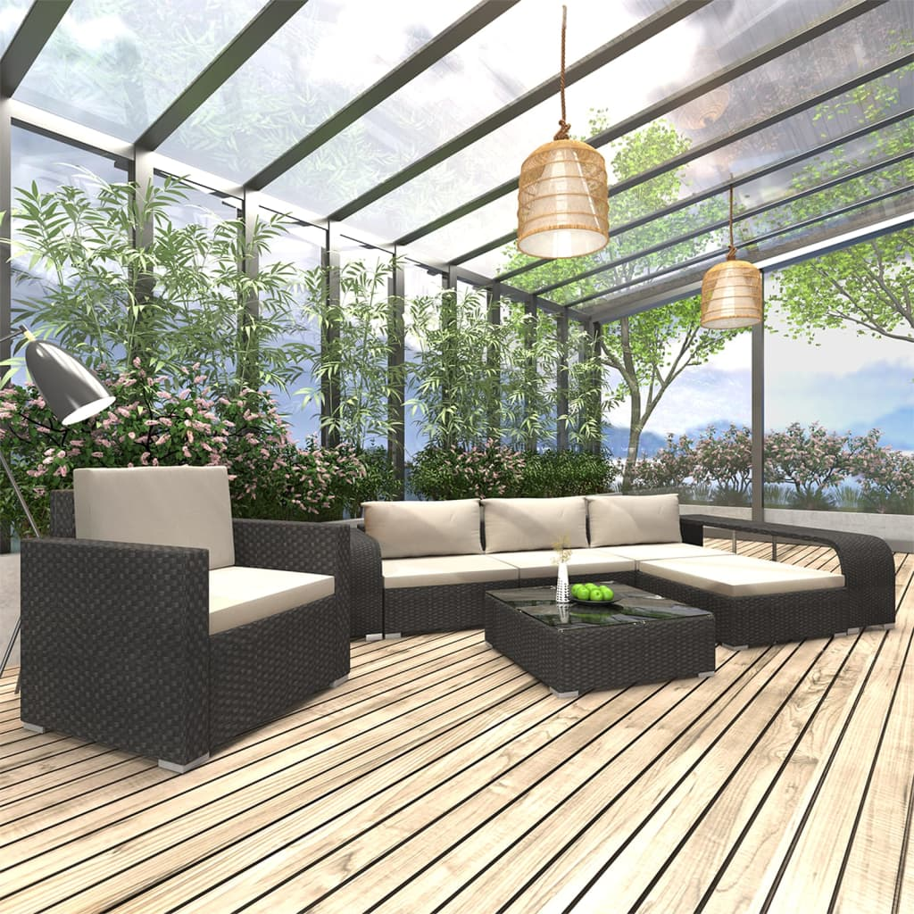 vidaXL Set mobilier de grădină cu perne, 8 piese, negru, poliratan imagine vidaxl.ro