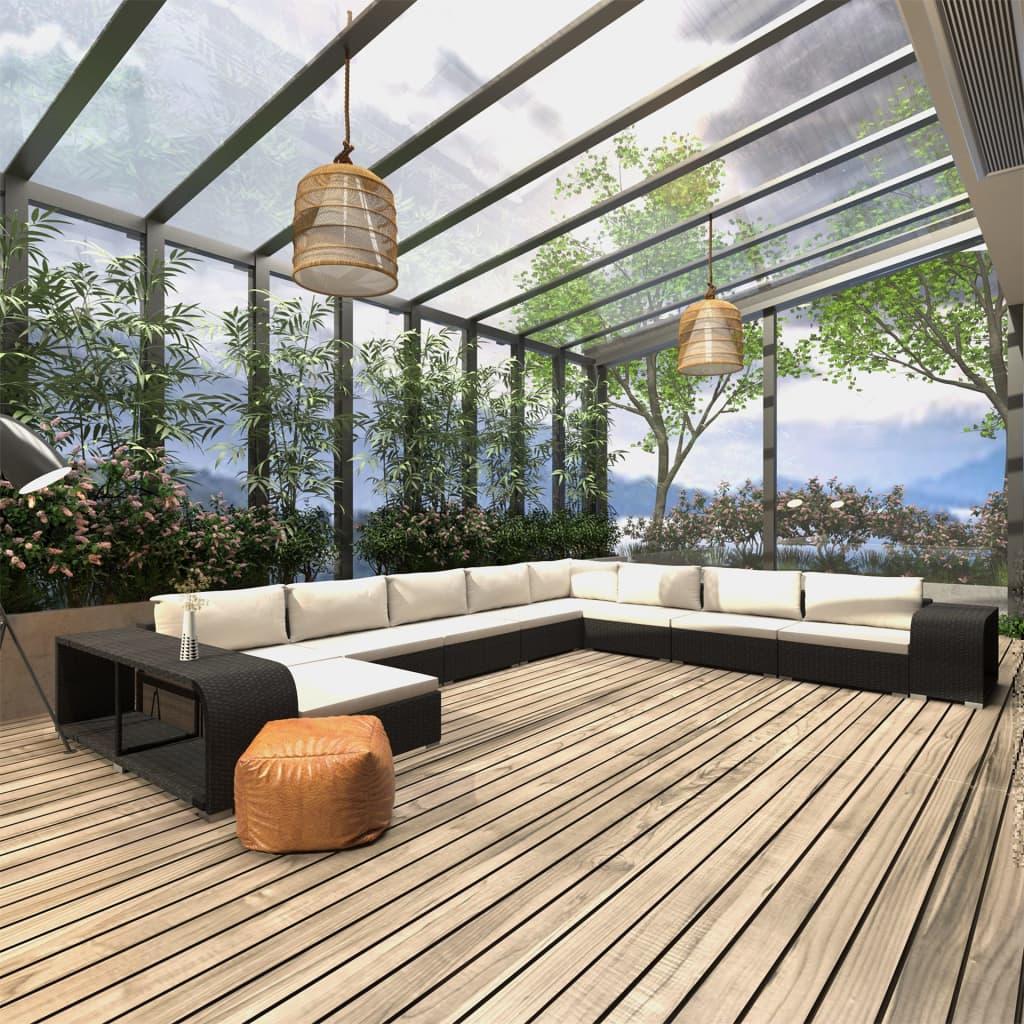 vidaXL Set mobilier de grădină cu perne, 11 piese, negru, poliratan poza 2021 vidaXL