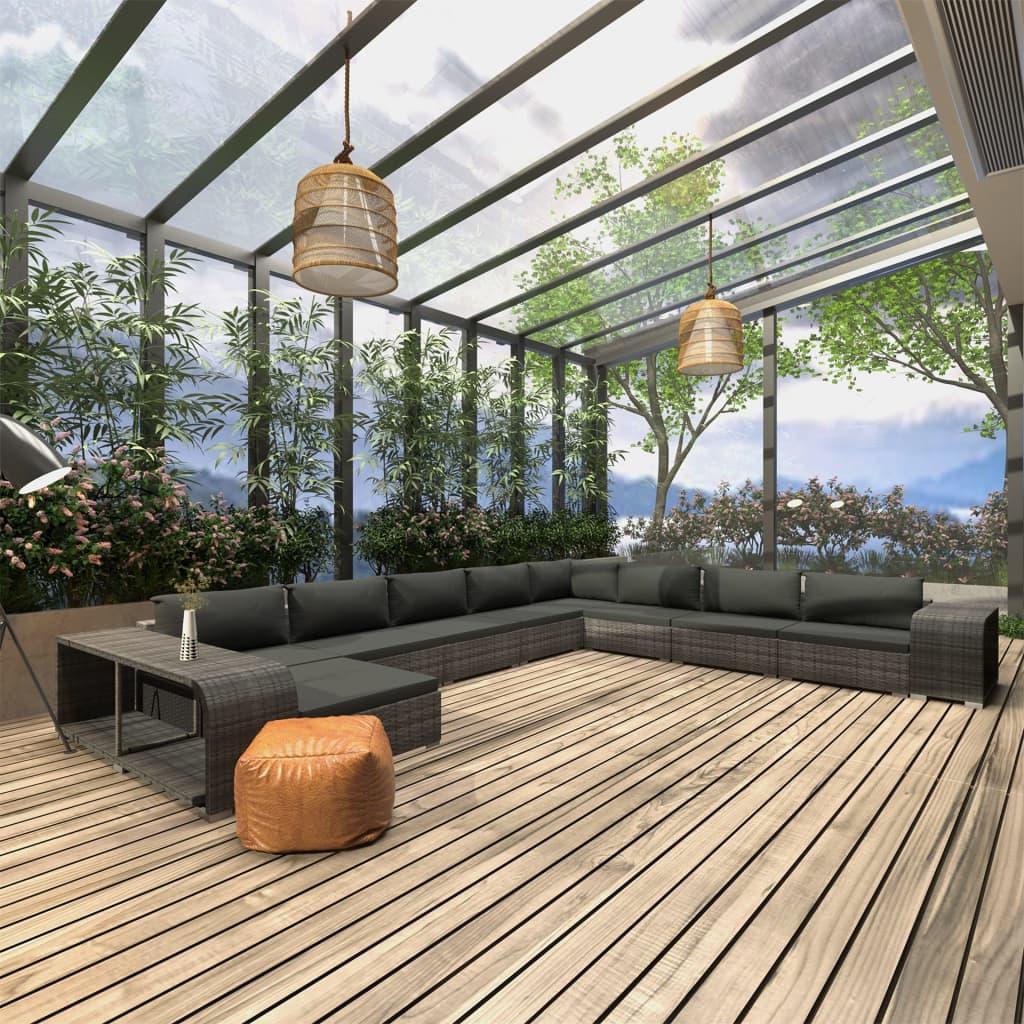 vidaXL Set mobilier de grădină cu perne, 11 piese, gri, poliratan vidaxl.ro