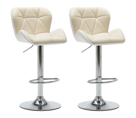 vidaXL Barové stoličky 2 ks krémové umělá kůže