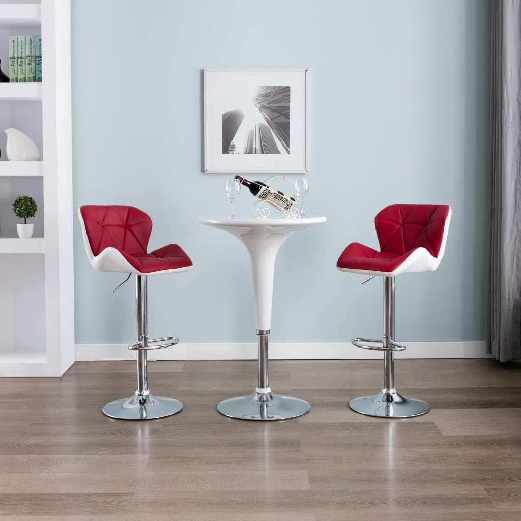vidaXL Stołki barowe, 2 szt., kolor czerwonego wina, sztuczna skóra