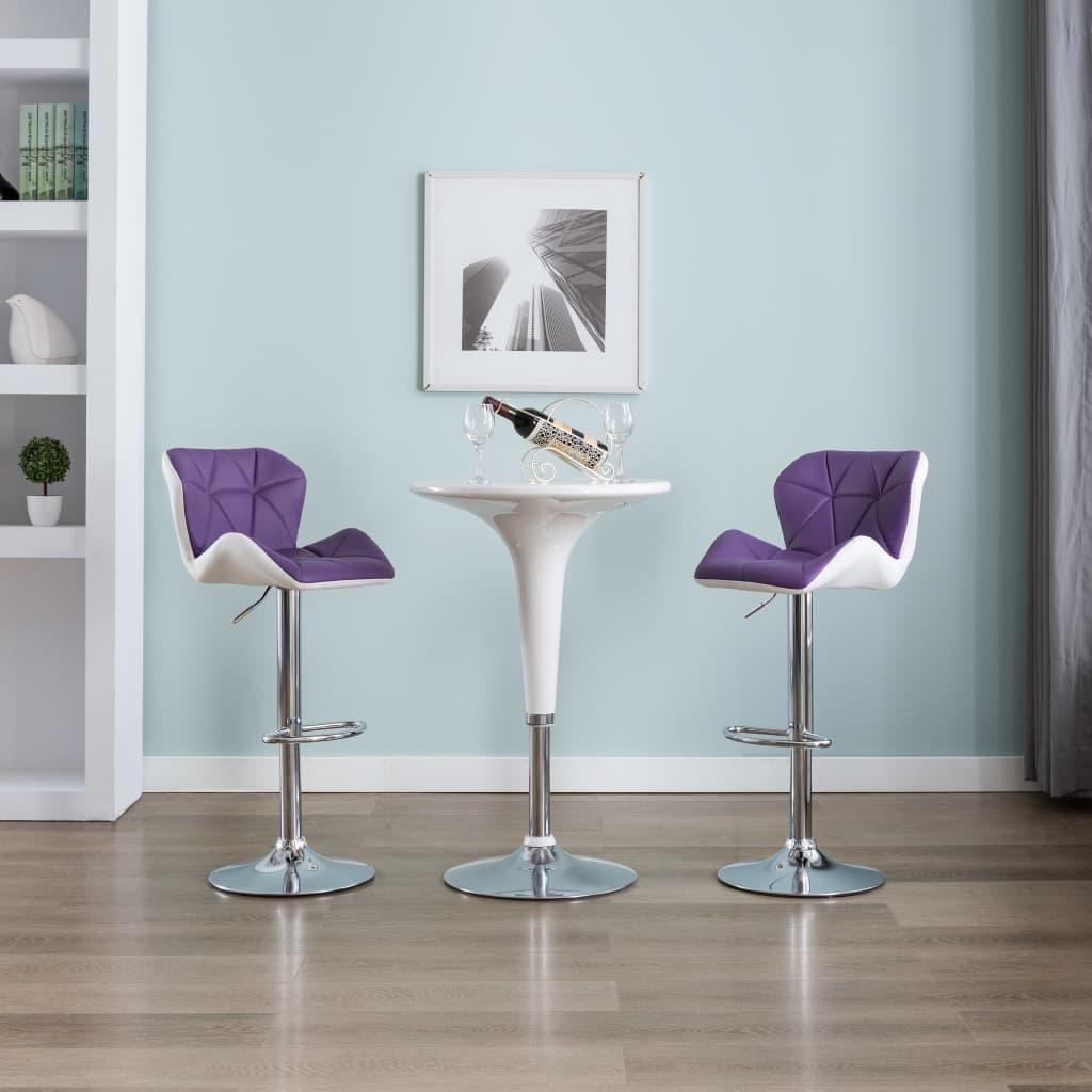 vidaXL Stołki barowe, 2 szt., fioletowe, sztuczna skóra