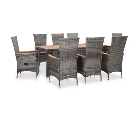 vidaXL 9 Piece Outdoor Dining Set with Cushions Poly Rattan Gray