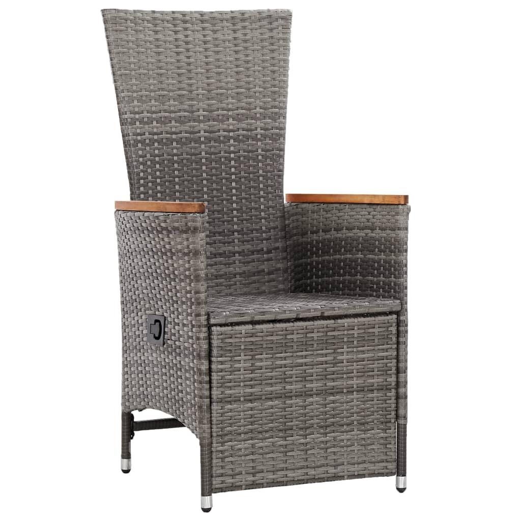 TutiVital 2 db szürke dönthető háttámlás polyrattan kerti szék párnával