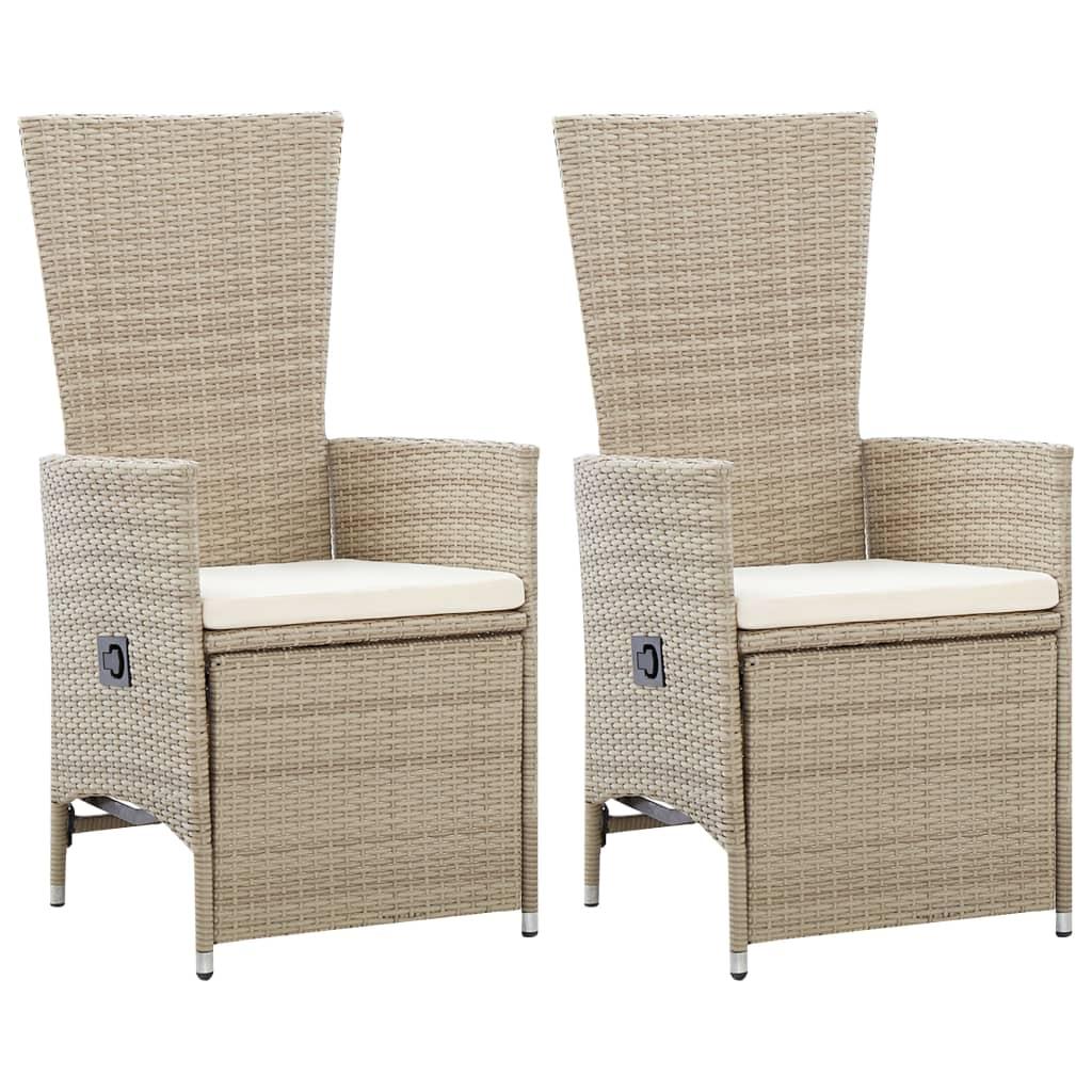 99946046 Garten-Liegestühle 2 Stk. mit Auflagen Poly Rattan Beige