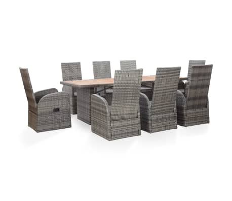 vidaXL 9-delige Tuinset poly rattan acaciahout grijs