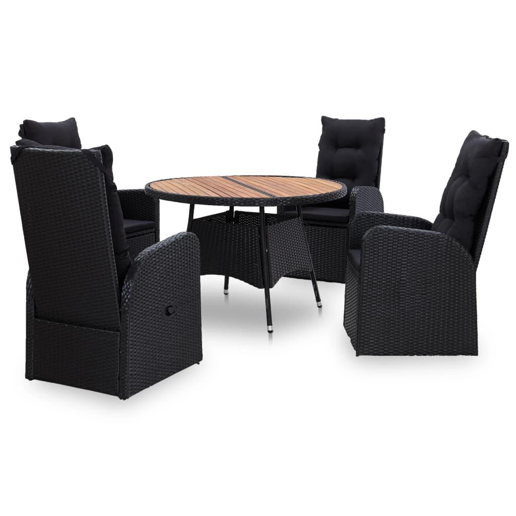 vidaXL Set mobilier de exterior, 5 piese negru, poliratan, lemn acacia imagine vidaxl.ro