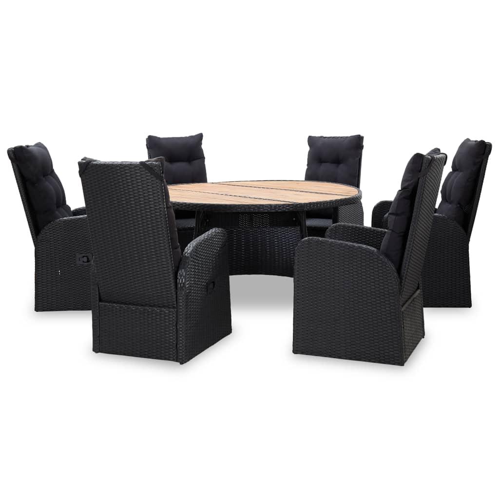 vidaXL Set mobilier de exterior 7 piese negru, poliratan, lemn acacia poza 2021 vidaXL