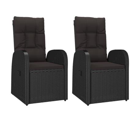 vidaXL Reclining Garden Chairs 2 pcs with Cushions Poly Rattan Black