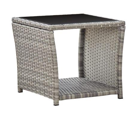 vidaXL Coffee Table Grey 45x45x40 cm Poly Rattan and Glass