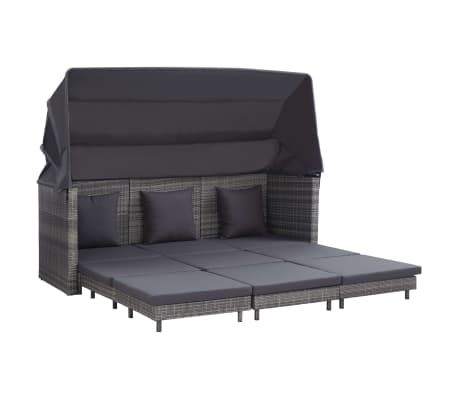 vidaXL Extendable 3-Seater Sofa Bed with Roof Poly Rattan Gray
